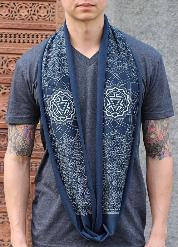 39ec25ab38cc2 Bamboo + Organic Cotton Mini Infinity Scarf - Sacred Geometry Manipura  Chakra