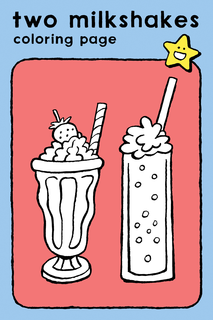 Two Milkshakes Coloring Pages Kids Food And Drink Fruit Cake And Ice Cream Drinks Twee Milkshakes Kleurplaat Milkshake Coloring Pages Food And Drink