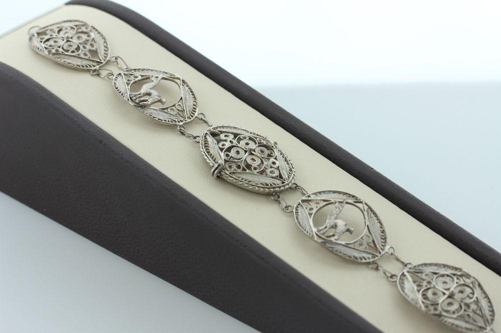 Vintage Peruvian Silver Filigree Link Bracelet