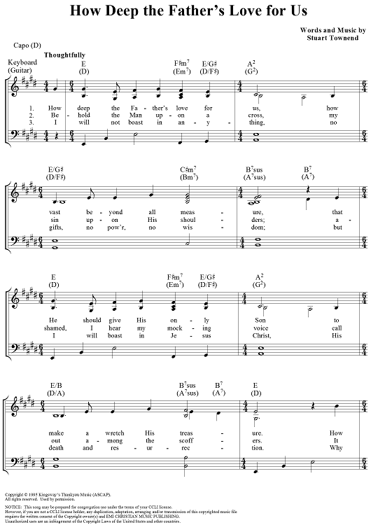 How Deep the Father\'s Love for Us   Christian Sheet Music ...