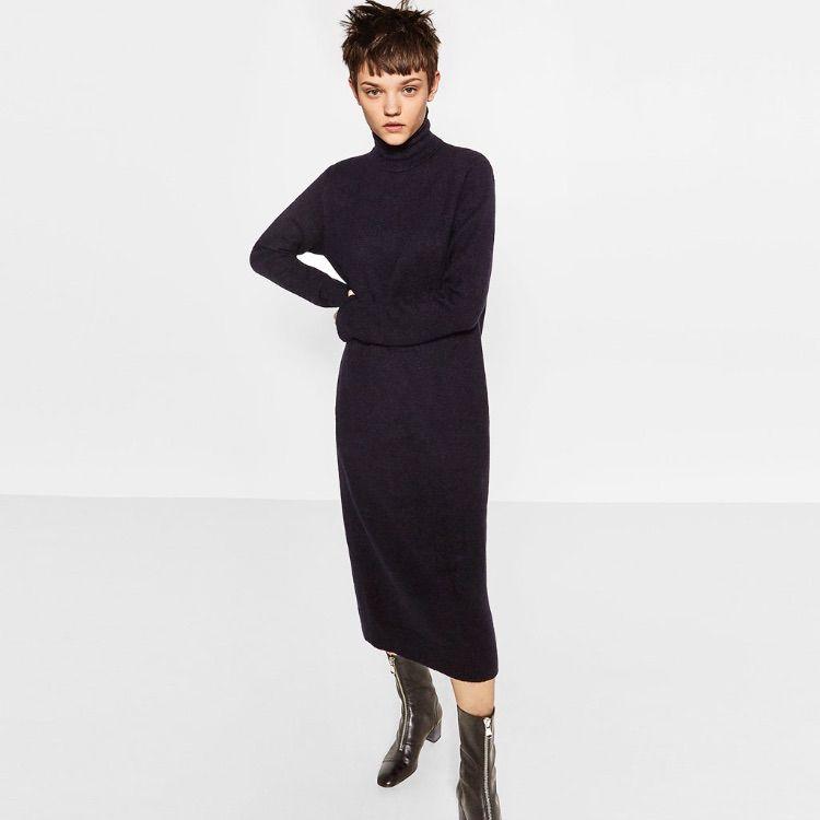 fdd22cb5938 Zara Turtleneck Sweater Dress