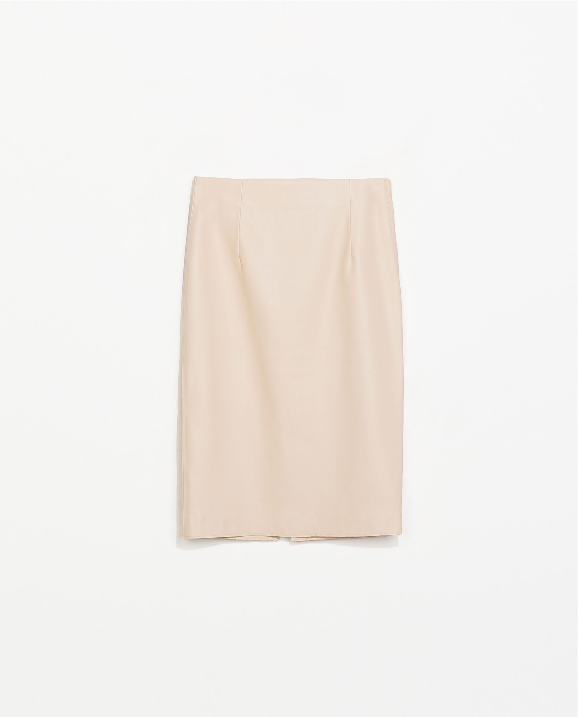 Perfectly polished party look - FAux leather tan pencil skirt - ZARA FAUX LEATHER TUBE SKIRT