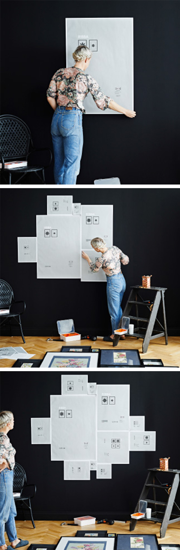 Use the frame backing papers to mark everything out on the wall ...