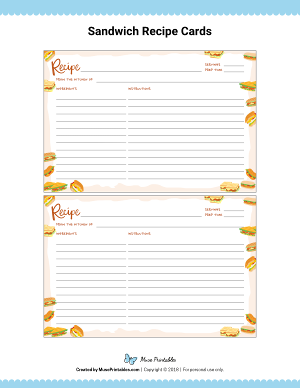 Free Printable Sandwich Recipe Cards The Cards Are Editable In Adobe Reader Download Them At Https Organize Recipes Cards Recipe Cards Template Recipe Cards