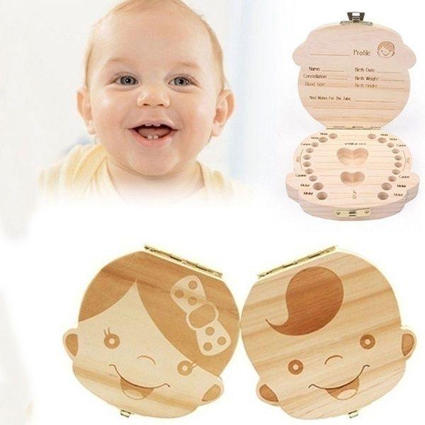 Baby Wooden Storage Case Tooth Box Organizer Save Milk Teeth For Boy Girl Gift