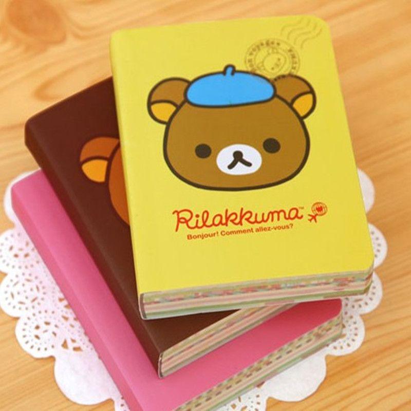 Kawaii Cartoon Rilakkuma Print Cover Color Page Mini Notebook Diary Notepad Travel Book Bear