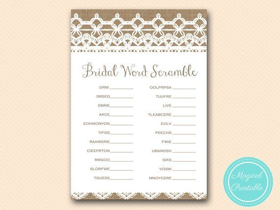 scramble bridal word scramble game printable rustic burlap lace bridal shower game download bach