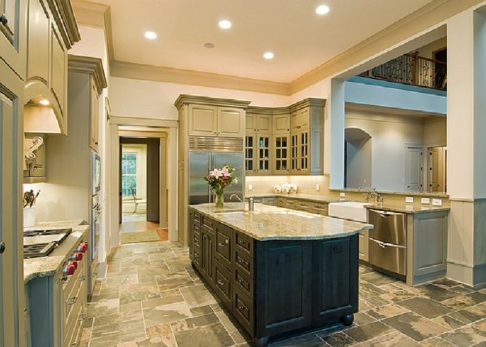 modern classic large kitchen designs with unique floor tiling My