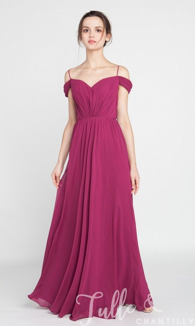 Chiffon Long Maroon Off the Shoulder Bridesmaid Dress with Spaghett ...