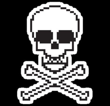 8 bit skull sticker by chilipenguin
