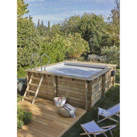 Piscine hors-sol bois Urbaine, L35 x l42 x H133 m Progetti - piscine hors sol beton aspect bois