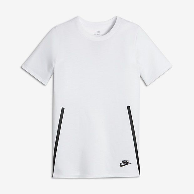 Nike Sportswear Tech Big Kids' T-Shirts White/Black