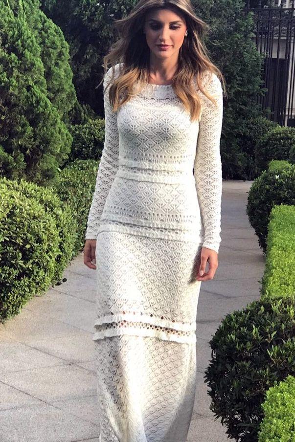 Vestido longo tricot off white