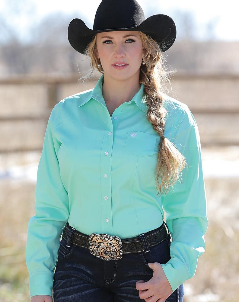 Cinch Women S Long Sleeve Solid Button Down Shirt Mint Green Cute Cowgirl Outfits Cowgirl Outfits Women
