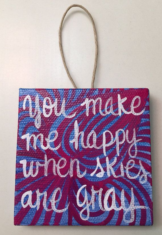 Handpainted mini canvas ornament 3x3 you make me happy