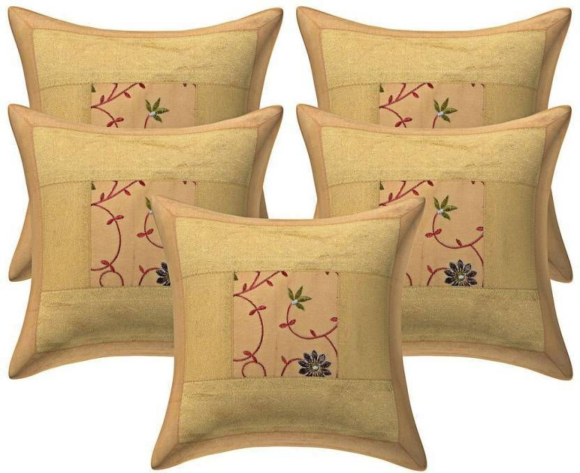"16/"" Cotton Handmade Brown Cushion Pillow Cover Ikat /& Kantha Work Throw INDIA"