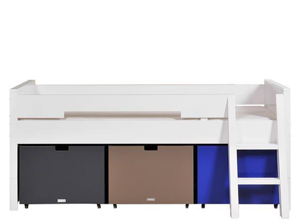 Combiflexcompactbedmet veel bergruimte enomvormbaarnaar andere bedvormen. De bakken kunnen apart worden besteld in allerlei kleuren.