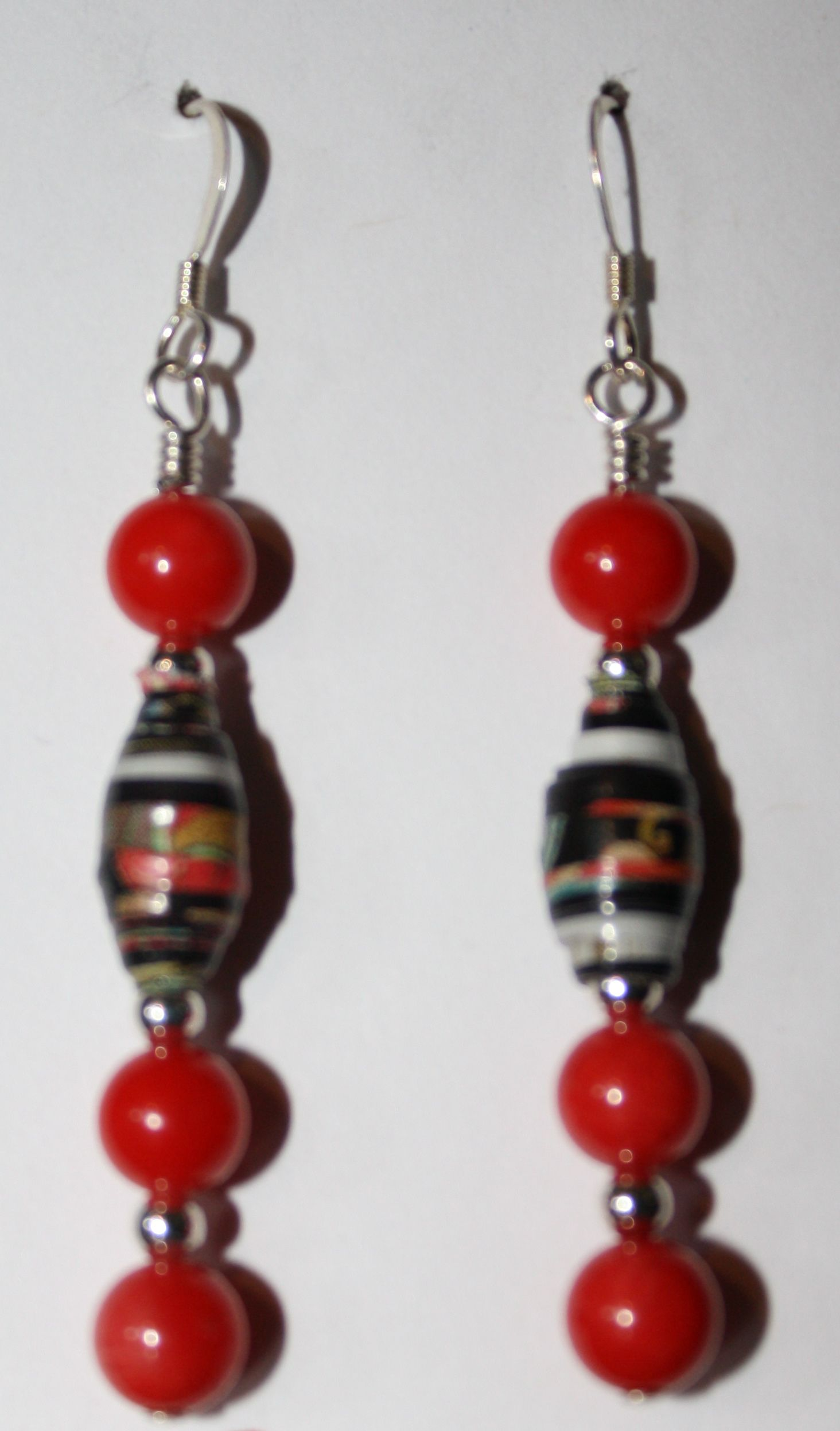 Paper Bead and Coral Earrings