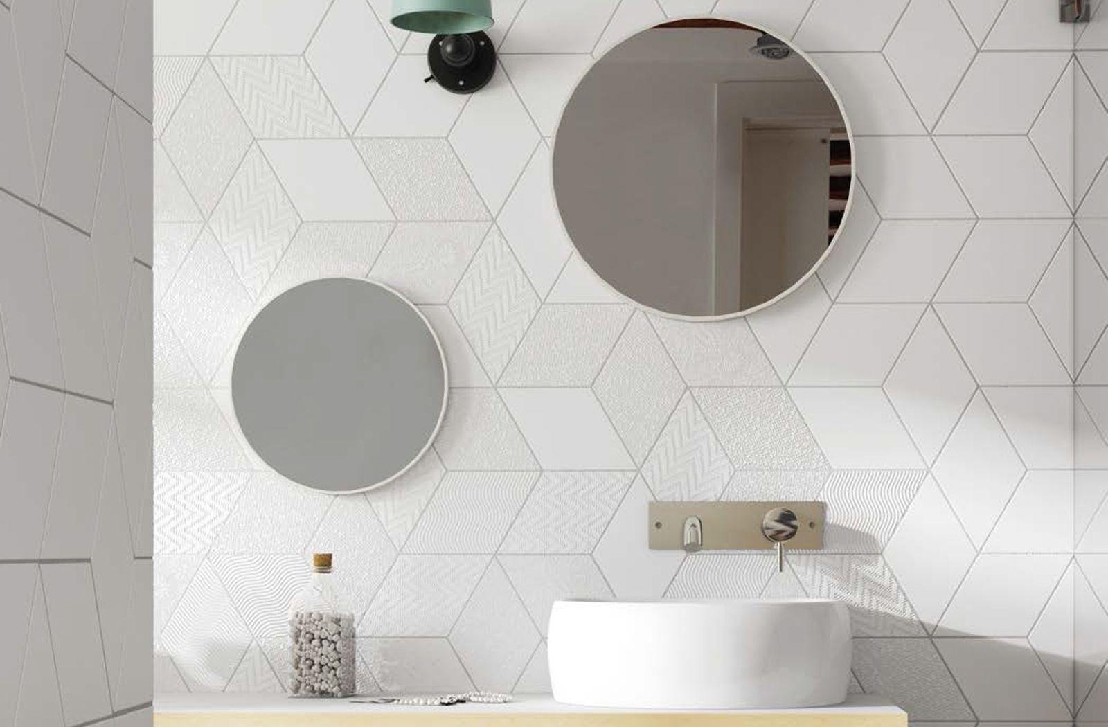 Pin By Faith On Interior Designs Bathroom Wall Tile Rhombus Tile Round Mirror Bathroom