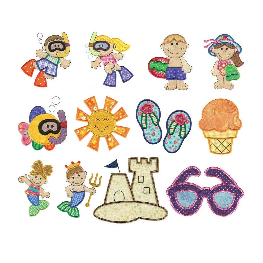 Summer beach scuba diving and mermaids applique machine embroidery designs