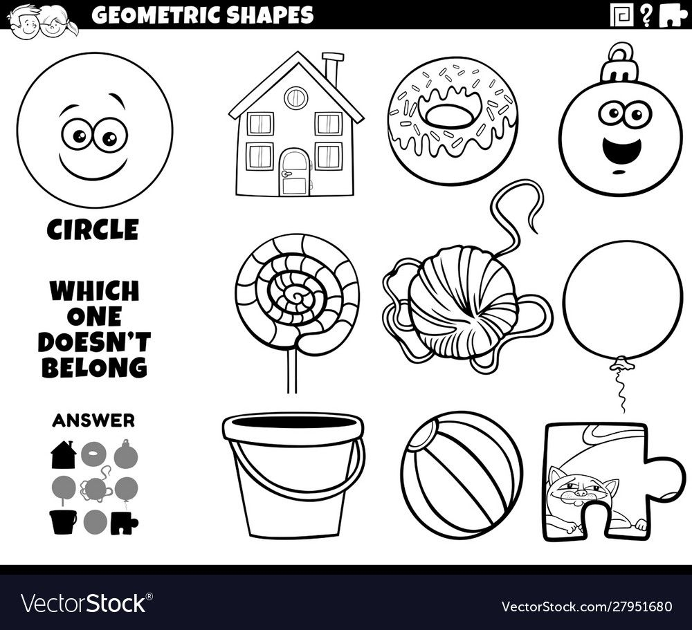 Black And White Cartoon Illustration Of Circle Geometric Shape Educational Game For Children Col Clip Art Freebies Educational Games For Kids Coloring For Kids