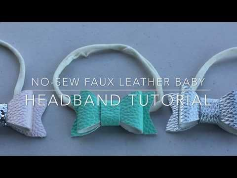 No-Sew Faux Leather Baby Headbands #babyheadbandtutorial No-Sew Faux Leather Headband Tutorial. These bows are absolutely adorable and fun to make! You can make these bows using faux leather, felt, etc. #babyheadbandtutorial
