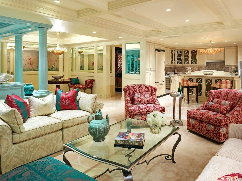 Maroon chairs and throw pillows pop in this cream great ...
