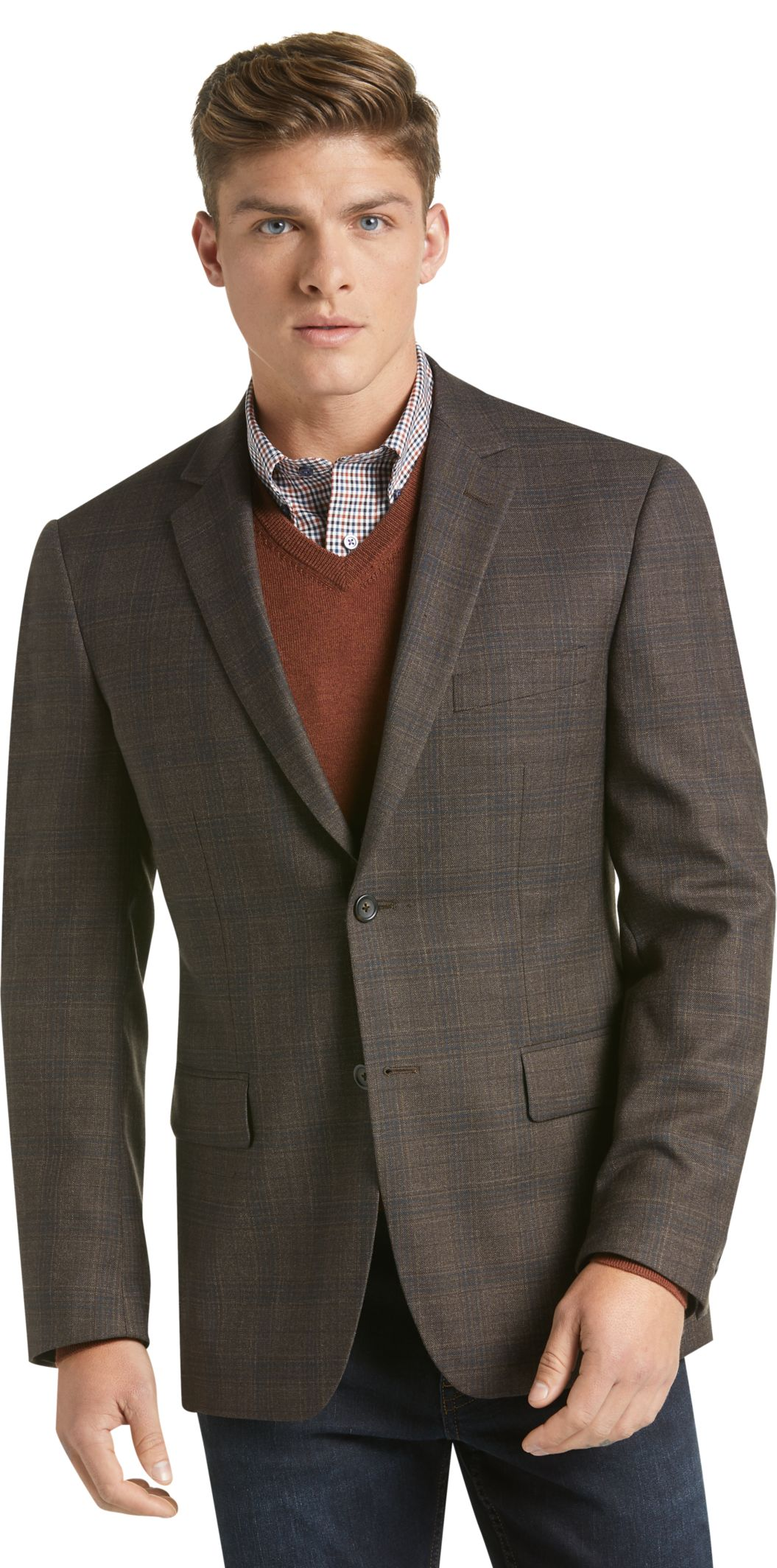Traveler Collection Tailored Fit Plaid Sportcoat CLEARANCE