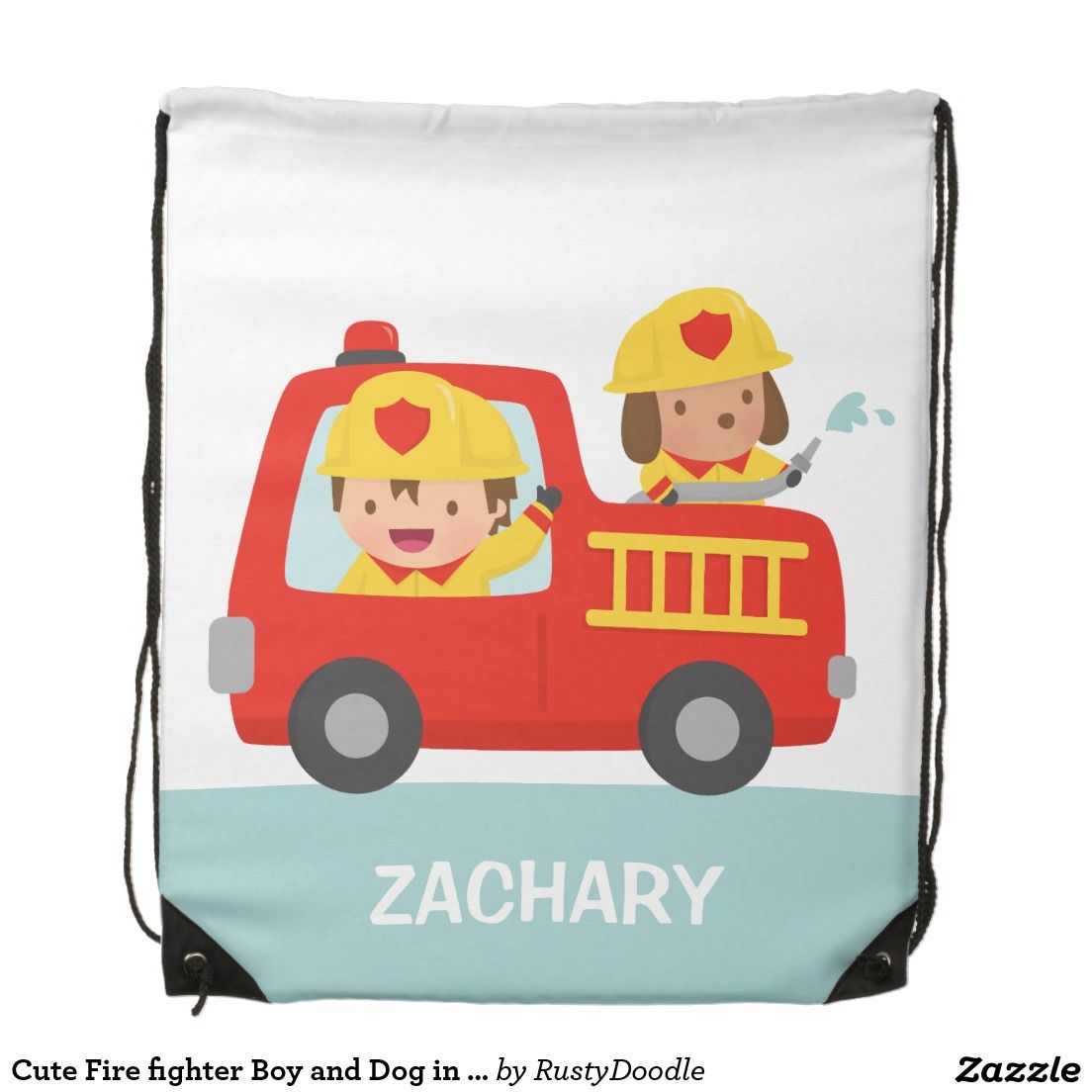 Cute Fire fighter Boy and Dog in Red Fire Trunk Drawstring Bag
