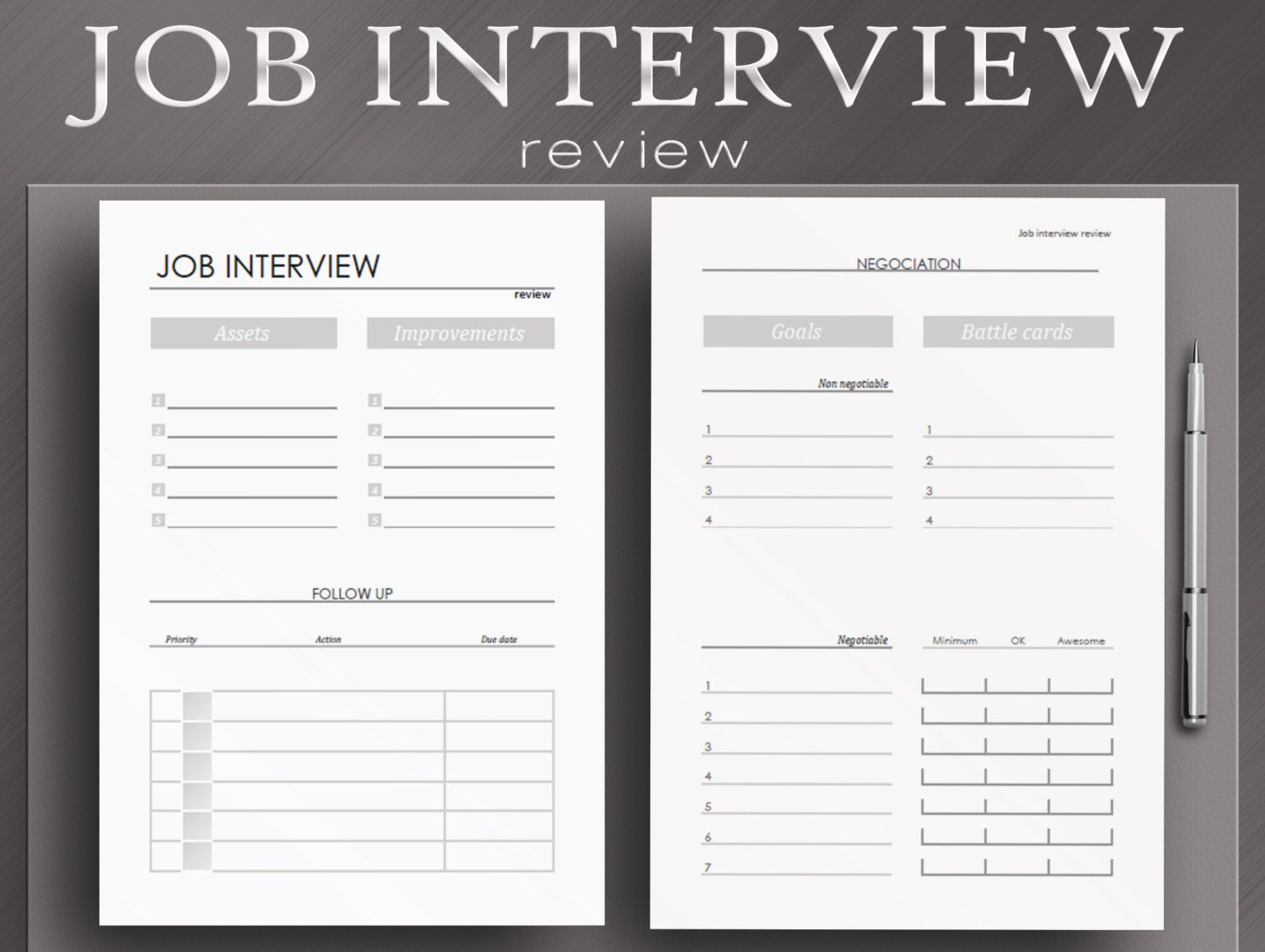 Job Interview Worksheets 6 Printable Planner Pages