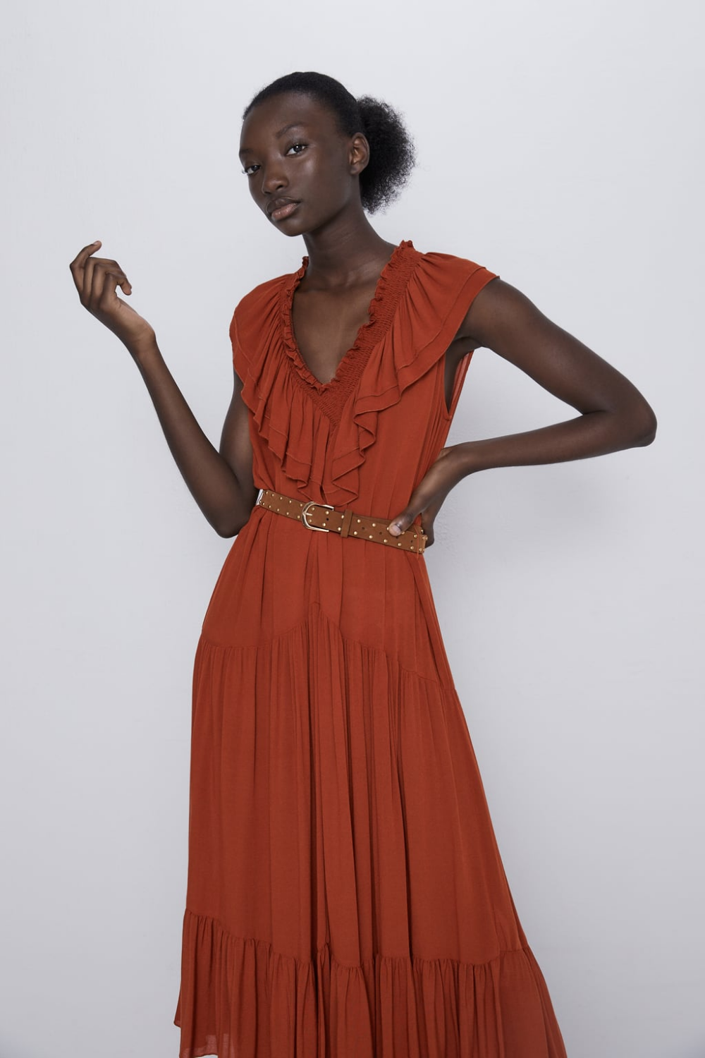Belted Ruffled Dress View All Dresses Woman Zara Canada Dresses Belted Dress Dress Details