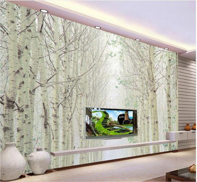 Personnalisé 3d papier peint Blanc bouleau forêt paysage peintures
