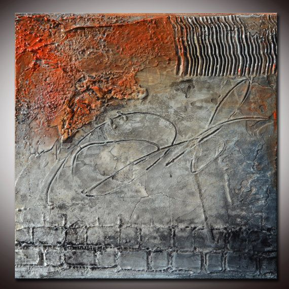 Small abstract textured sculpted original painting by for Textured acrylic abstract paintings