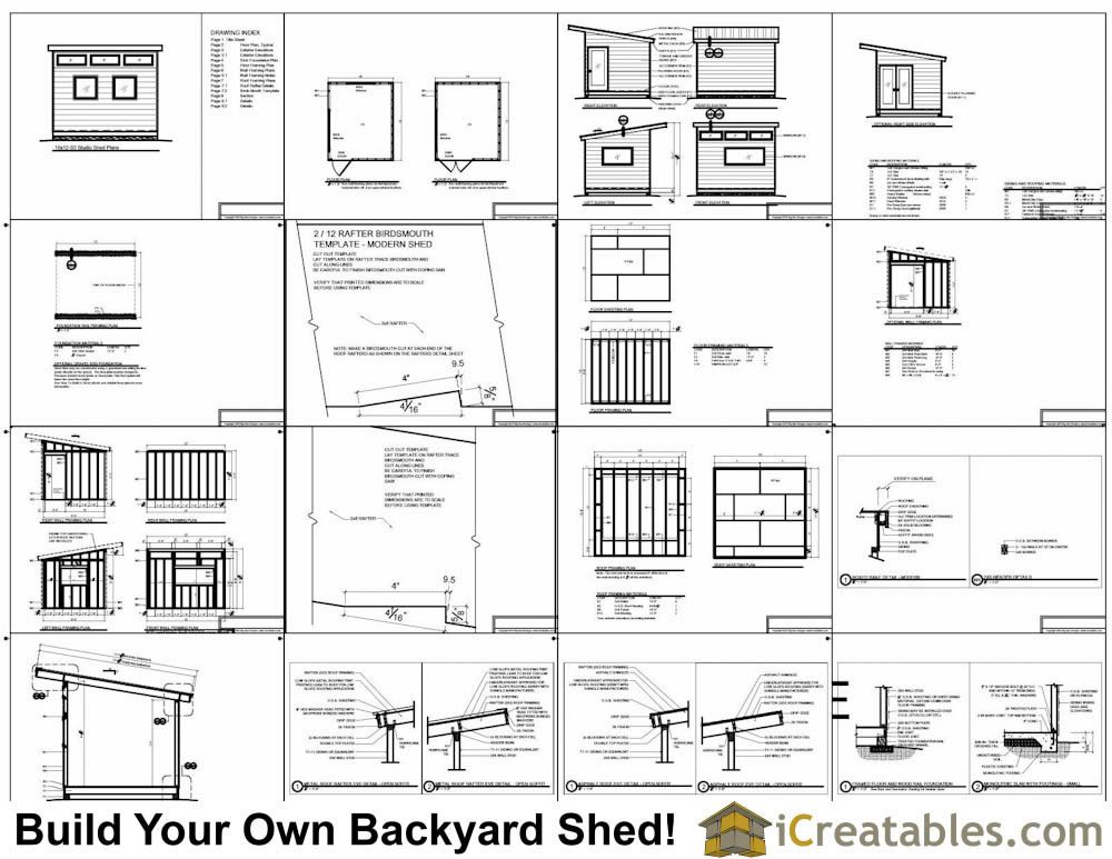 10x12 Modern Shed Plans Shed Plans Modern Shed Studio Shed