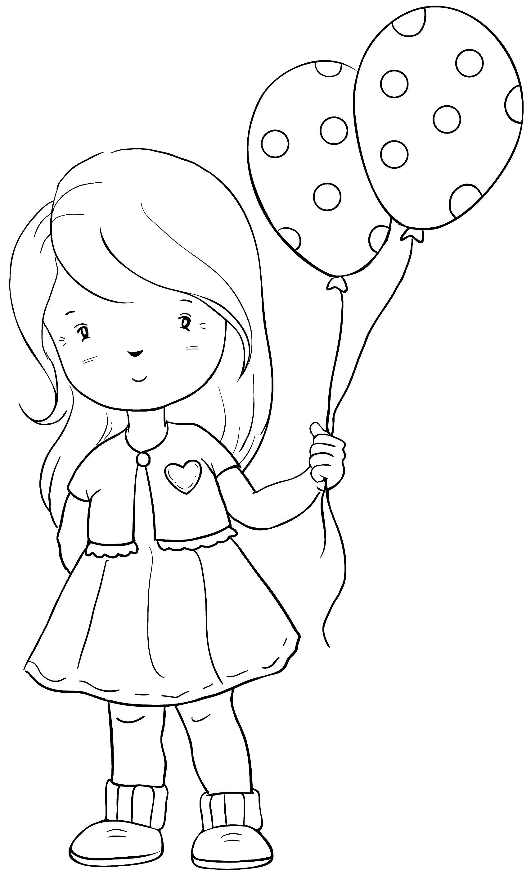 Coloriage Fille Bapteme.Petite Fille Et Ballons Bapteme Drawing For Kids Coloring