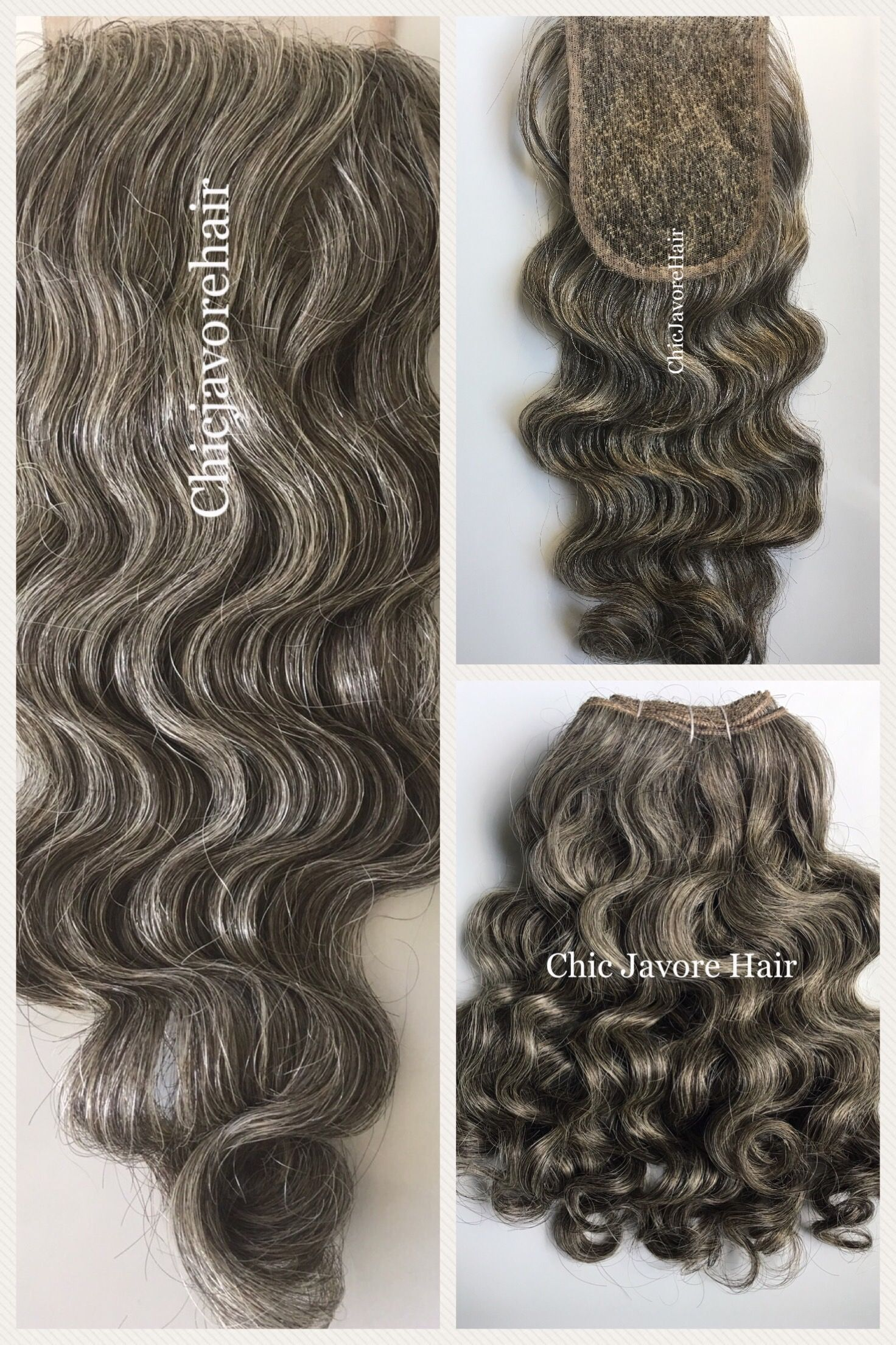authentic virgin indian natural curly light grey hair from chic