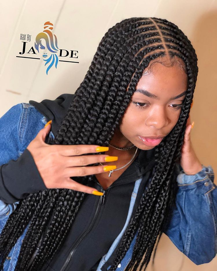 """At Home Braider 🦋 on Instagram: """"She Got What she Asked For🔥 2 layer braids inspired… (With ..."""