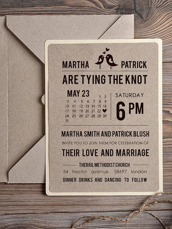 Rustic Wedding Invitation, Recycling Eco Invitation, Birds in Love ...
