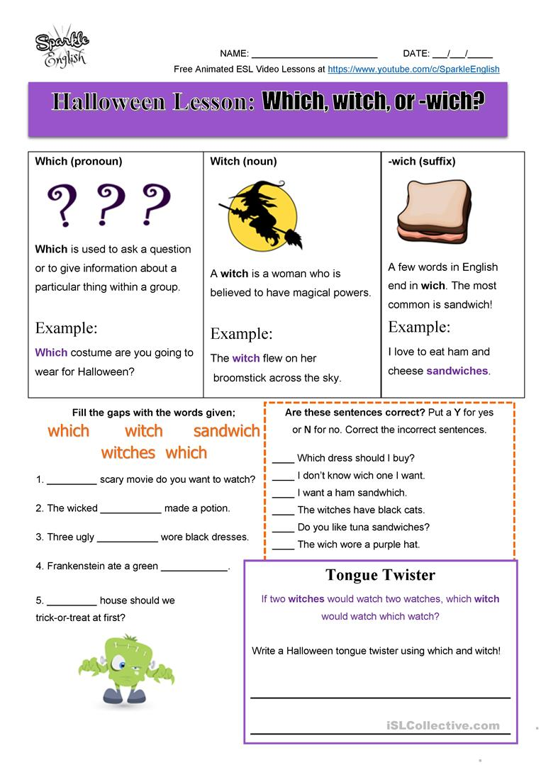 Halloween Homonyms Lesson Which Witch Or Wich Esl Spelling And Writing Worksheet English Esl Worksheets For Di Writing Worksheets Teacher Guides Lesson [ 1079 x 763 Pixel ]