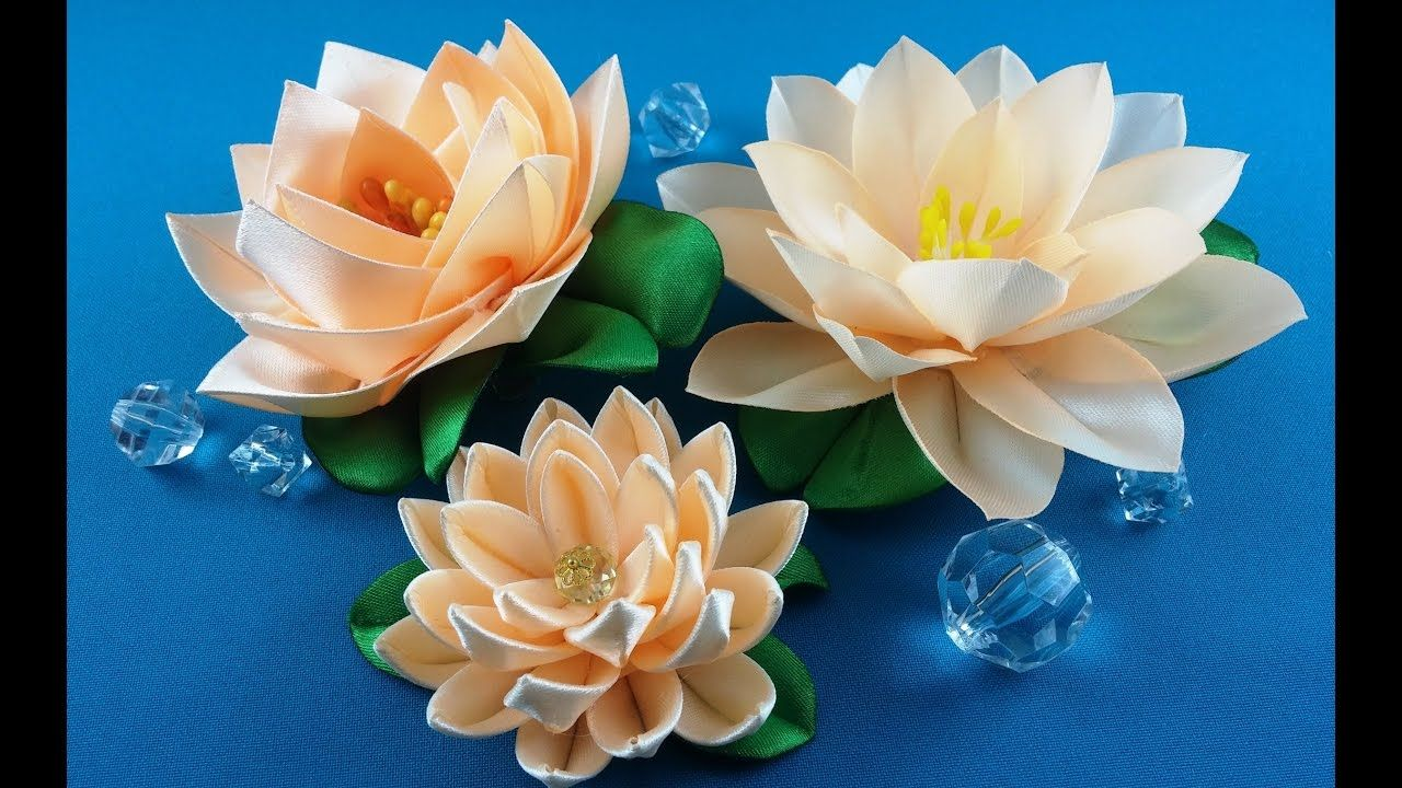 Ribbon lotus:3 ways to make/Lotus de las cintas:3 variantes de hacer/Лот...