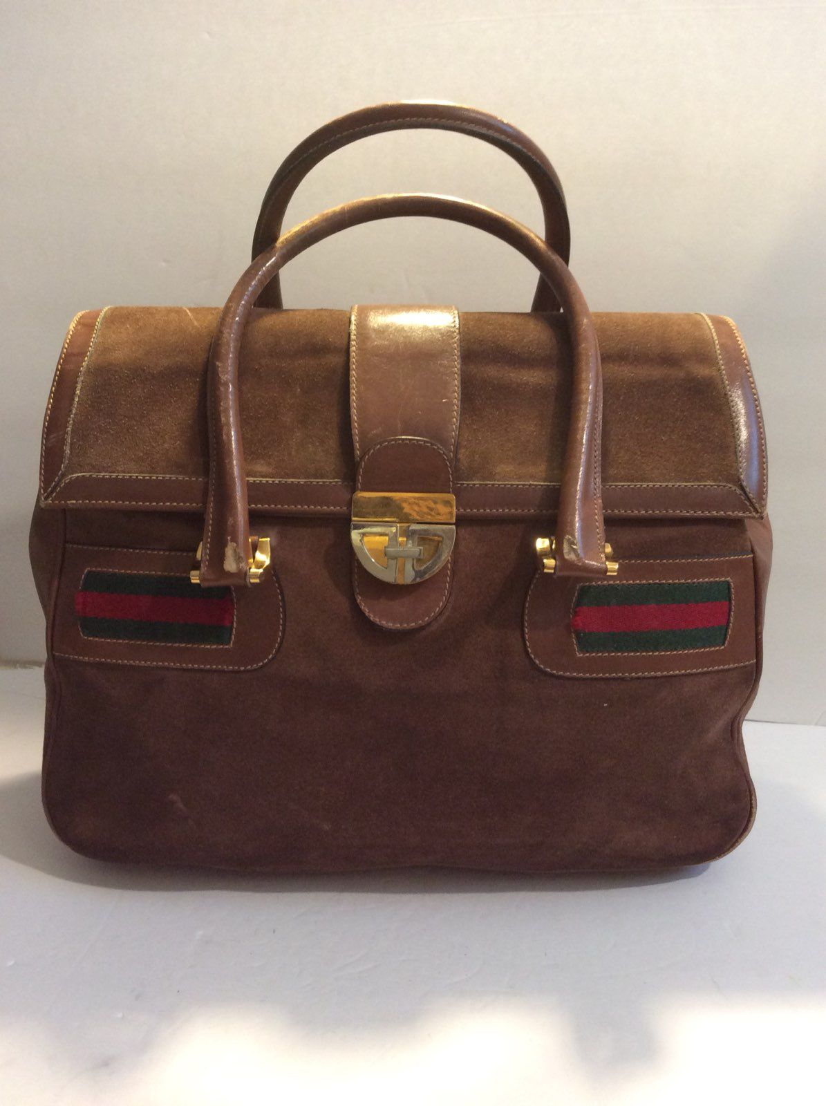 c0b52ff704d Cool item  Vintage Monogram Gucci Suede Satchel Vintage Gucci