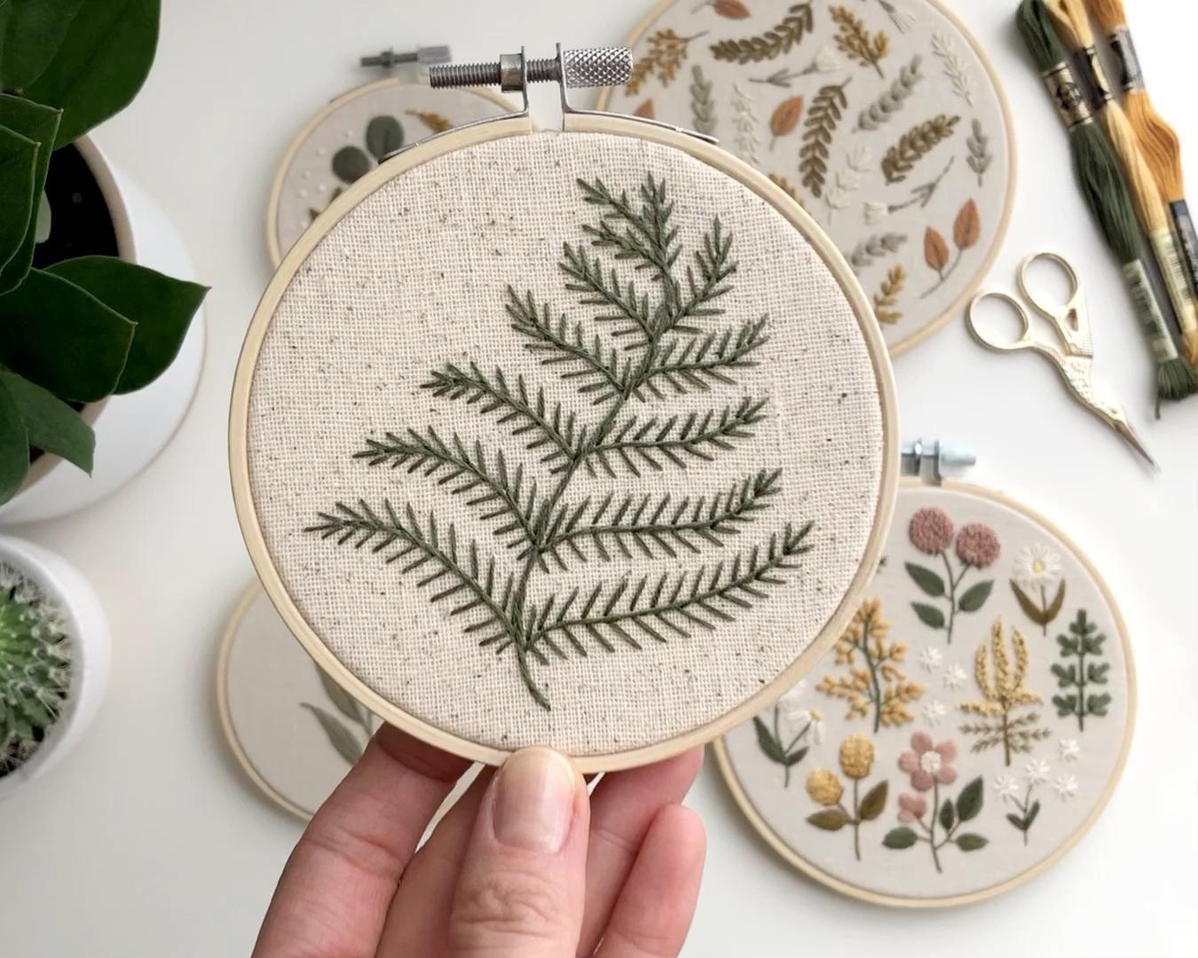 """4"""" fern embroidery hoop – Bordados en tela"""