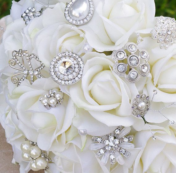 Wedding Brooch Bouquet with Jewels Crystal and Pearl by Wedideas ...