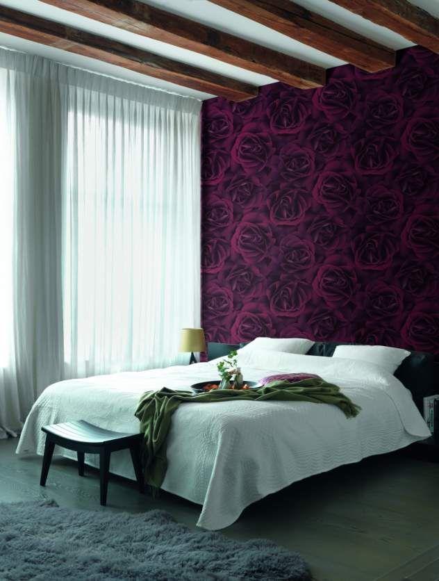 Tapete mit überdimensionsgroße Rosenblüten von Rasch Schlafzimmer