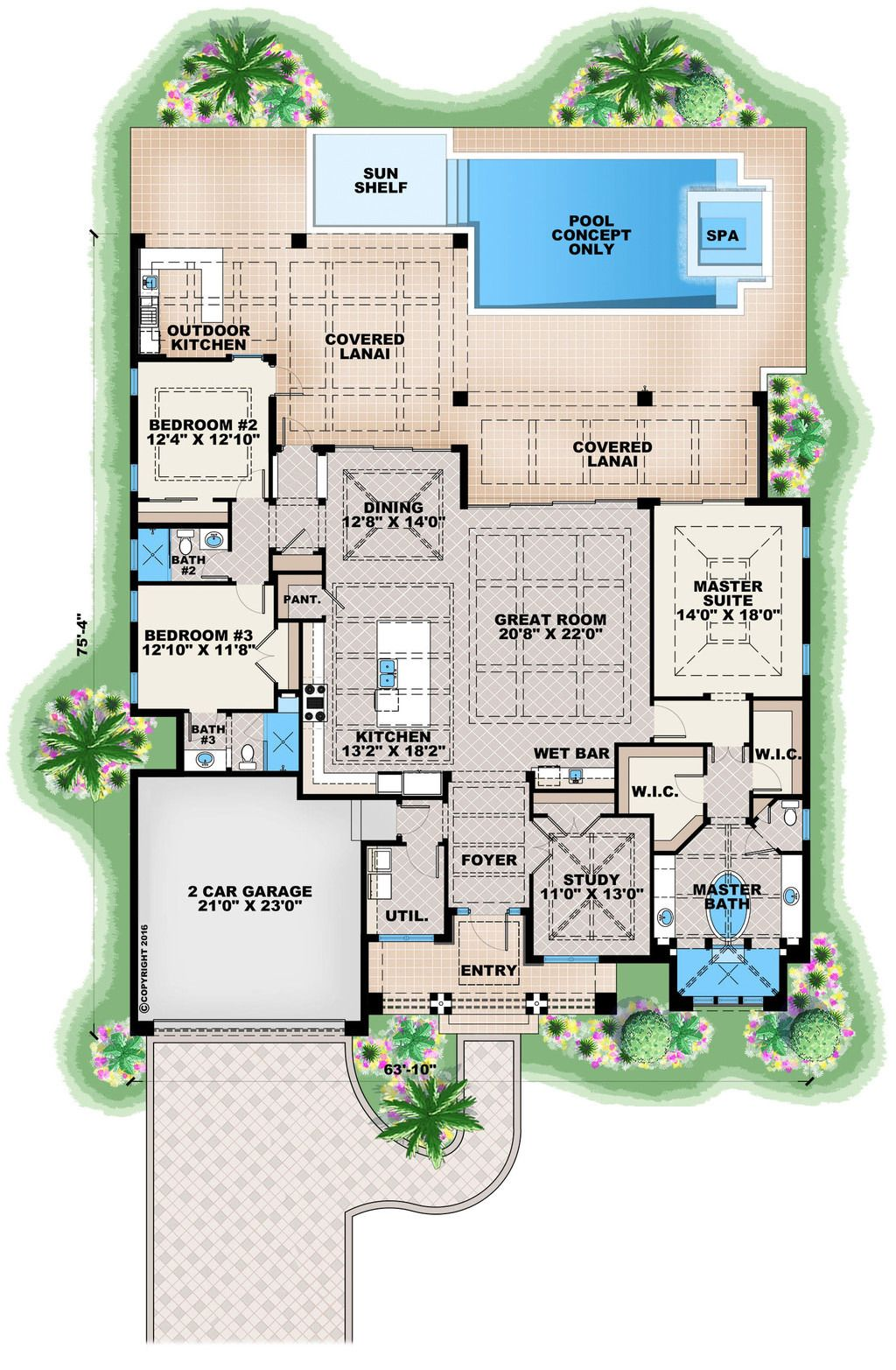 Contemporary Style House Plan - 3 Beds 3.00 Baths 2684 Sq/Ft Plan #27-551  Floor Plan - Main Floor Plan - Houseplans.com
