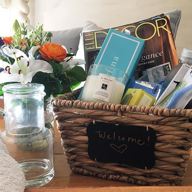 Guest welcome basket full of goodies. ❤️