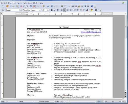 Resume Templates for OpenOffice Free -    getresumetemplate - open office resume builder