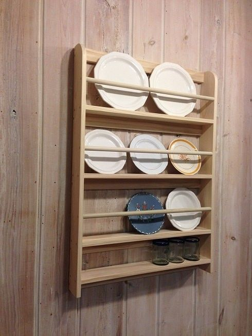 Display your decorative plates with this wall mounted rack that has 3 shelves for plates and one lower shelf for cups mugs or decorative items. Each plat & Decorative Plate Display Rack | Low shelves Decorative items and ...