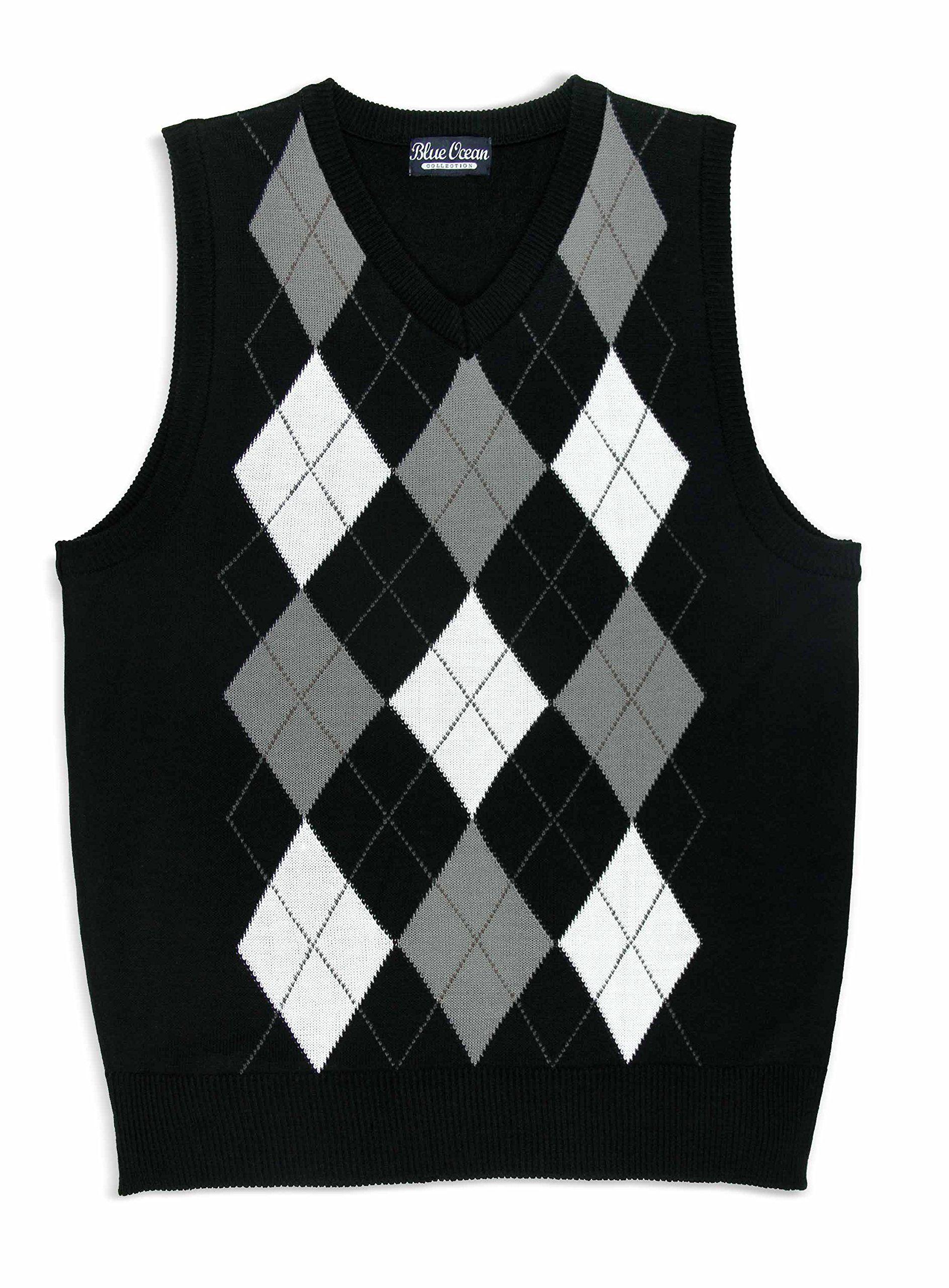 Boy's Argyle Sweater Vest SV-255BOYS (12-14/Medium, Black ...