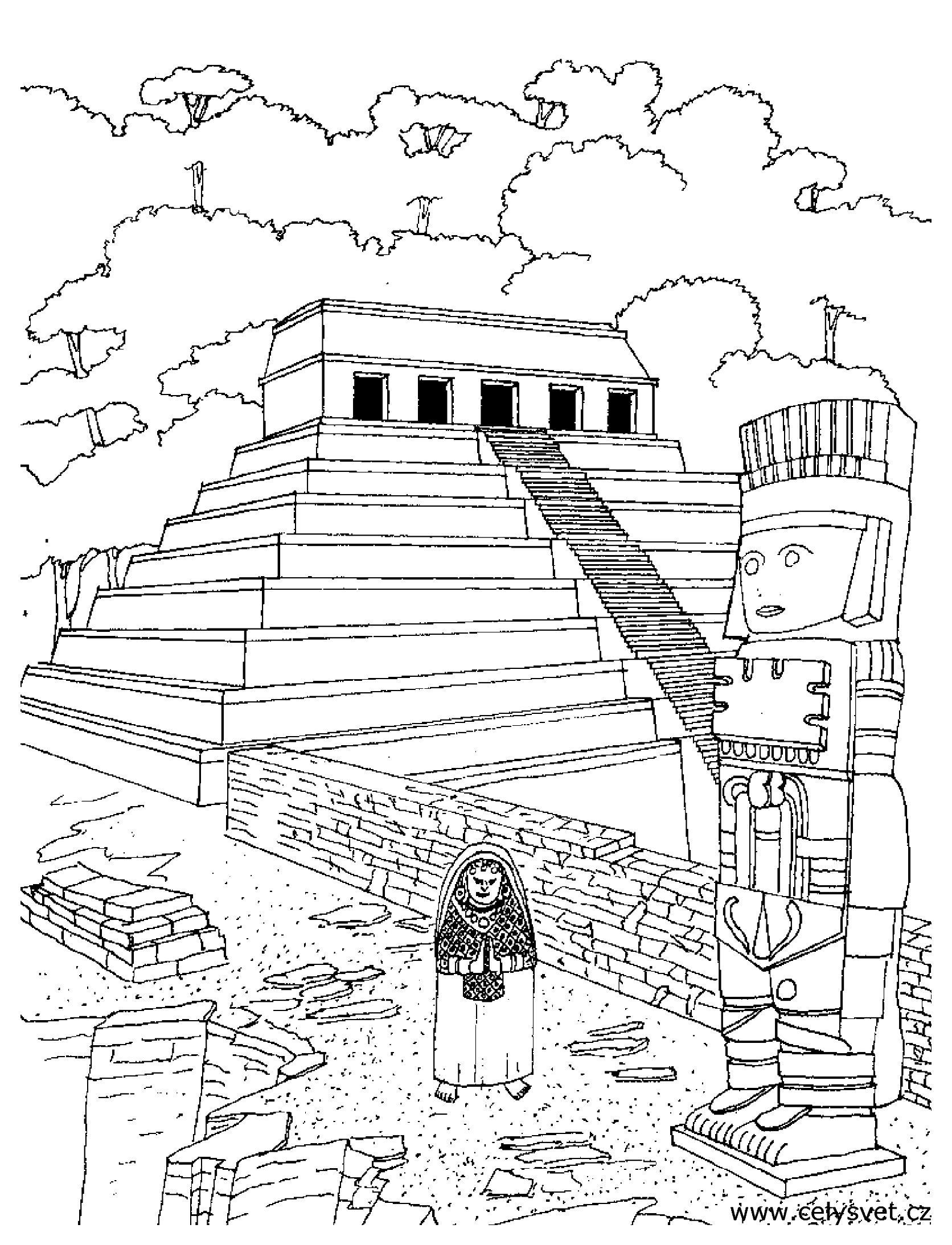 Coloring Page Of An Aztec Temple Inca Art South American Art Aztec Art